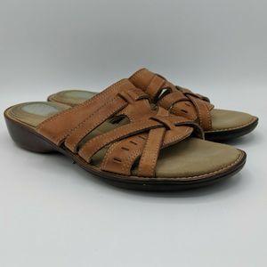 Dr. Scholls Sandals Size 8 Slip On Brown Leather